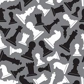 Black And White Chess Pieces Seamless Gray Pattern Eps10