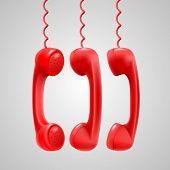 Hanging red handsets