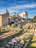 image of emanuele  - Forum Romanum and monument of Vittorio Emanuele II Rome Italy - JPG