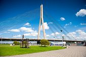 Vansu cable-stayed bridge over Daugava river in Riga, Latvia