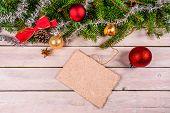 Christmas Card Decoration On Wood