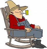 stock photo of hillbilly  - This illustration depicts an old man sitting a rocking chair smoking a pipe - JPG