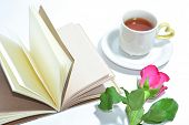 Tea Cup Of Love , Handmade Book And Pink Rose