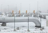stock photo of pipeline  - Border delivery station at the natural gas pipeline near Rozvadov - JPG