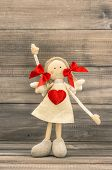 Funny Girl With Red Heart. Holidays Greetings