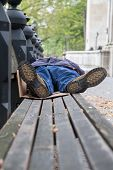 picture of homeless  - Sleeping Homeless on the bench at the park - JPG