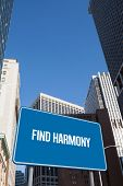 The word find harmony and blue billboard against new york