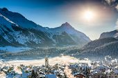 stock photo of engadine  - Mountain town in winter season in Italy - JPG