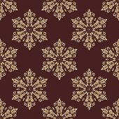 Floral Seamless Vector Golden Pattern. Orient Abstract Background