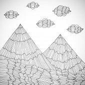 Original hand drawn mountains, vector eps10 illustration