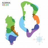 Abstract vector color map of Albania with transparent paint effect.