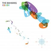 Abstract vector color map of Bahamas with transparent paint effect.