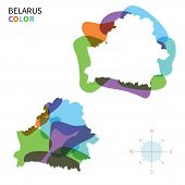 Abstract vector color map of Belarus with transparent paint effect.