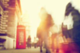 picture of phone-booth  - People rush on a busy street of London - JPG