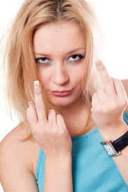 stock photo of indecent  - Portrait of pretty blonde showing indecent signs - JPG