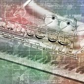 picture of saxophones  - abstract grunge sound background with saxophone and piano keys - JPG