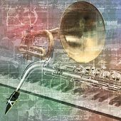 stock photo of saxophones  - abstract grunge sound background with trumpet saxophone and piano - JPG