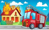 stock photo of fire truck  - Fire truck theme image 3  - JPG