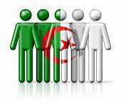 stock photo of algeria  - Flag of Algeria on stick figure  - JPG