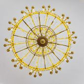 pic of bottom  - Bottom view of the historic gold chandelier - JPG