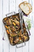 stock photo of stew  - French chicken stew in red wine  - JPG