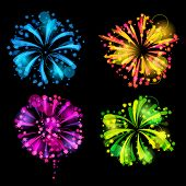 image of salute  - Set of bright colorful fireworks and salute - JPG