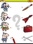 foto of brain-teaser  - Cartoon Illustration of Education Element Matching Game for Preschool Children with People Occupations - JPG