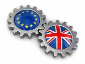 stock photo of british culture  - British and European union flags on a gears - JPG