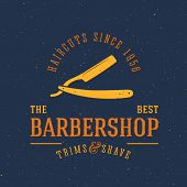 stock photo of barbershop  - Barbershop Vector Vintage Label or Logo Template with Retro Typography and Grunge Shabby Textures - JPG