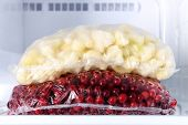 pic of frozen  - Frozen berries and vegetables in bags close up - JPG