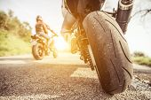 Постер, плакат: Two Motorcycles On The Hills