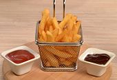 image of dipping  - Fried potatoes chest and sauces dip - JPG