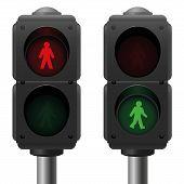 stock photo of pedestrians  - Pedestrian lights  - JPG