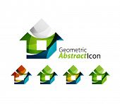 stock photo of universal sign  - Set of abstract geometric company logo home - JPG
