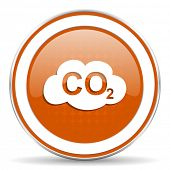 picture of carbon-dioxide  - carbon dioxide orange icon co2 sign  - JPG