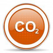 foto of carbon-dioxide  - carbon dioxide orange icon co2 sign  - JPG