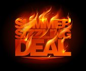 stock photo of fieri  - Fiery summer sizzling deal design template - JPG