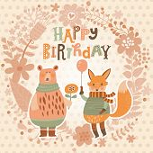 picture of bear  - Sweet happy birthday card with lovely fox with air balloon and cute bear in summer floral wreath - JPG