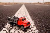 pic of truck-cabin  - Model of the Truck on an Asphalt Road - JPG