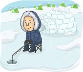 foto of catching fish  - Illustration of a Man Trying to Catch Some Fish Near an Igloo - JPG
