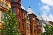 stock photo of row houses  - Colorful Dupont Circle row houses in Washington DC.