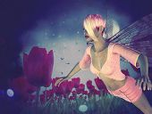 pic of night-blooming  - Dream fairy in fantasy land with bright red tulips at night time. ** Note: Visible grain at 100%, best at smaller sizes - JPG