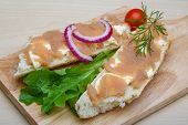 foto of cod  - Sandwich with cod roe salad onion and dill - JPG