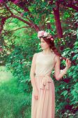 picture of lilac bush  - Young beautiful girl in a long dress and a wreath of flowers in the garden of lilac bush  - JPG