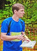 Sportsman On Start Of Orienteering  Competitions