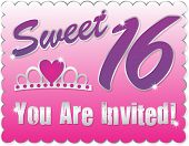 stock photo of sweet sixteen  - Sweet Sixteen Invitation - JPG