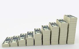 stock photo of money  - Illustration of big money stack from dollars usa - JPG