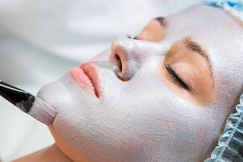 picture of face mask  - Application of rejuvenating mask on the face of the girl - JPG