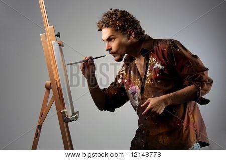 Постер, плакат: молодой человек живопись на холсте, холст на подрамнике