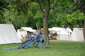 STONEY CREEK, ON-JUNE 4: American soldiers relax in their tents before start of reenactment of the w